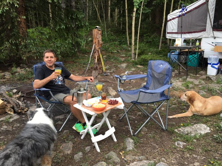 The one camping photo I took- Adam and the pups